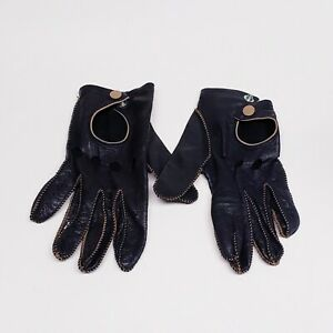 Fownes-Vintage-Soft-Leather-Black-Driving-Gloves-Size-Medium-Brown-Stitching
