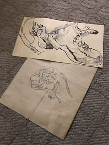 Vintage Advanced Ohio Art Student Sketch Shoe Drawing & Sketch Pieces Signed
