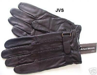 NEW Adult Mens Thick Suade Leather Gloves Insulated Wrist Strap Black XL Grip