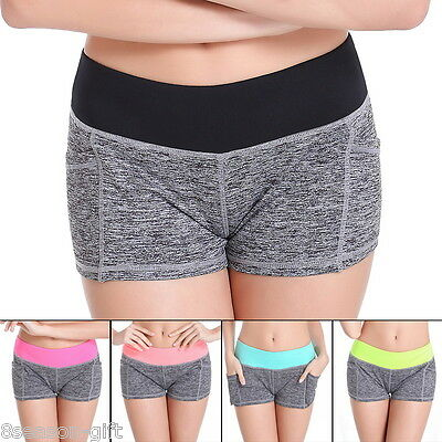 Women Sports Pants Elastic Casual Stretch Yoga Jogging Cotton Shorts Quick-Dry