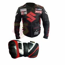 Lower Price with Suzuki 4269 White Motorbike Motorcycle Cowhide Leather Jacket And Leather Gloves Coats & Jackets Parts & Accessories