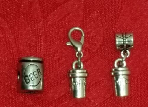COFFEE CUP- EUROPEAN BEER CHARM DRINK ANTIQUE SILVER CHARM PARTY -U CHOOSE