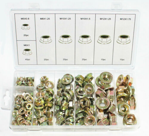 140pc FLANGE NUT ASSORTMENT KIT METRIC SIZE INDUSTRIAL