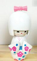 Handmade Cute Japanese Creative Kokeshi Wooden Doll Girl 9cm - White