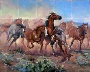 Ceramic-Tile-Mural-Backsplash-Sorenson-Western-Horse-Herd-Southwest-Art-RW-JS021