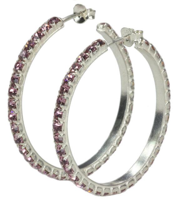 Glass Purple Hoop Sterling Silver Earrings