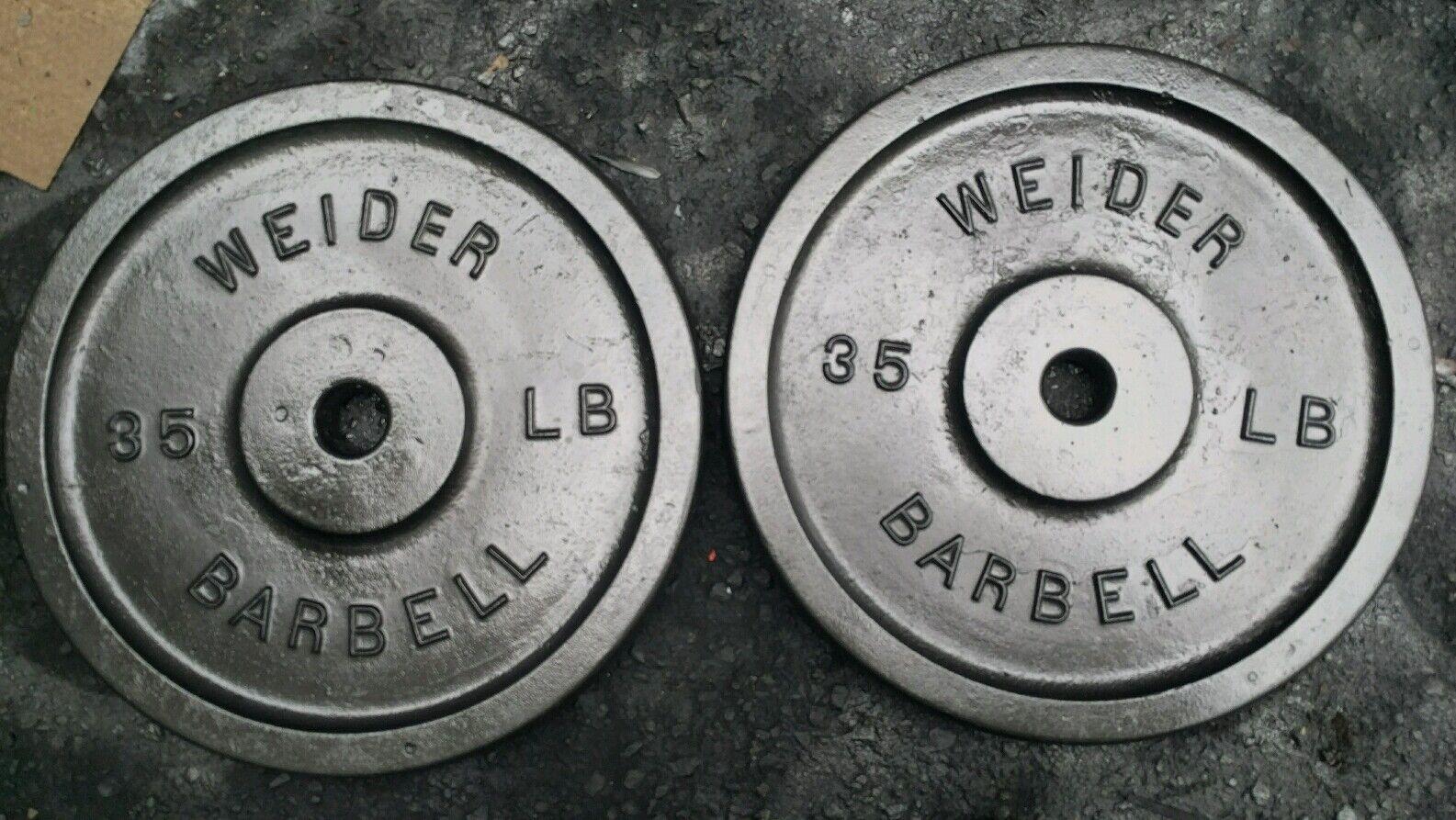 Vintage Pair Weider 35 lb lb lb Weight Plates 2x35 pounds Hard To Find Größe Standard 2bfade