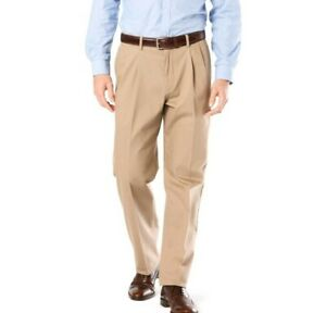 Dockers-Relaxed-Fit-Signature-Pleated-D4-Khaki-Stretch-Pants-Wrinkle-Free-New