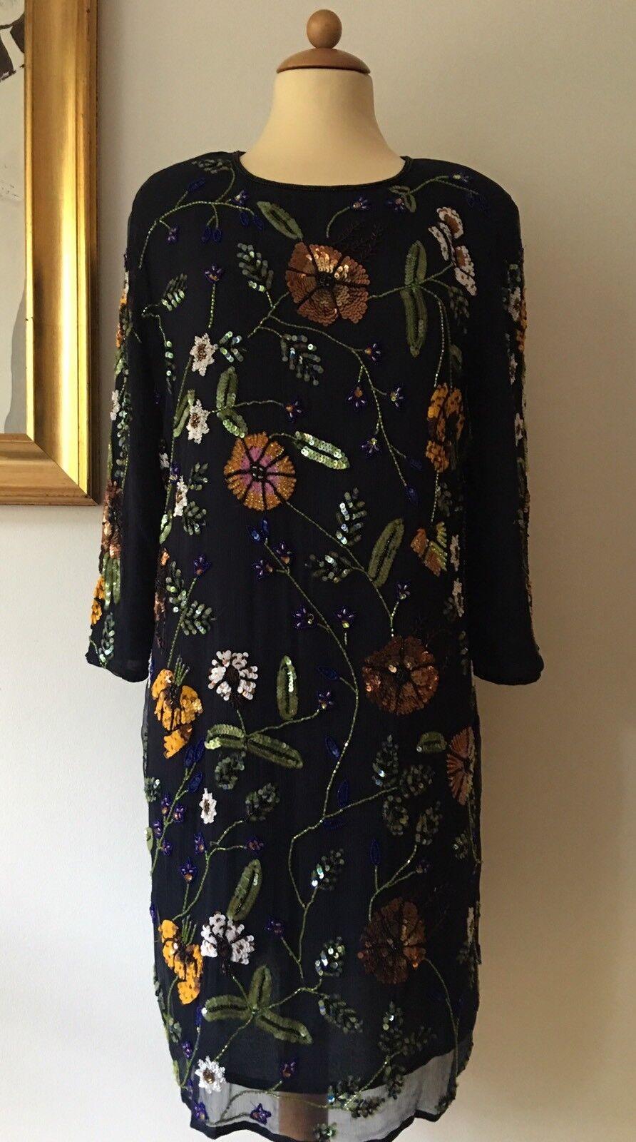 ♣ Kleid InWear dunkelblau Pailletten Gr. 40 NEUw