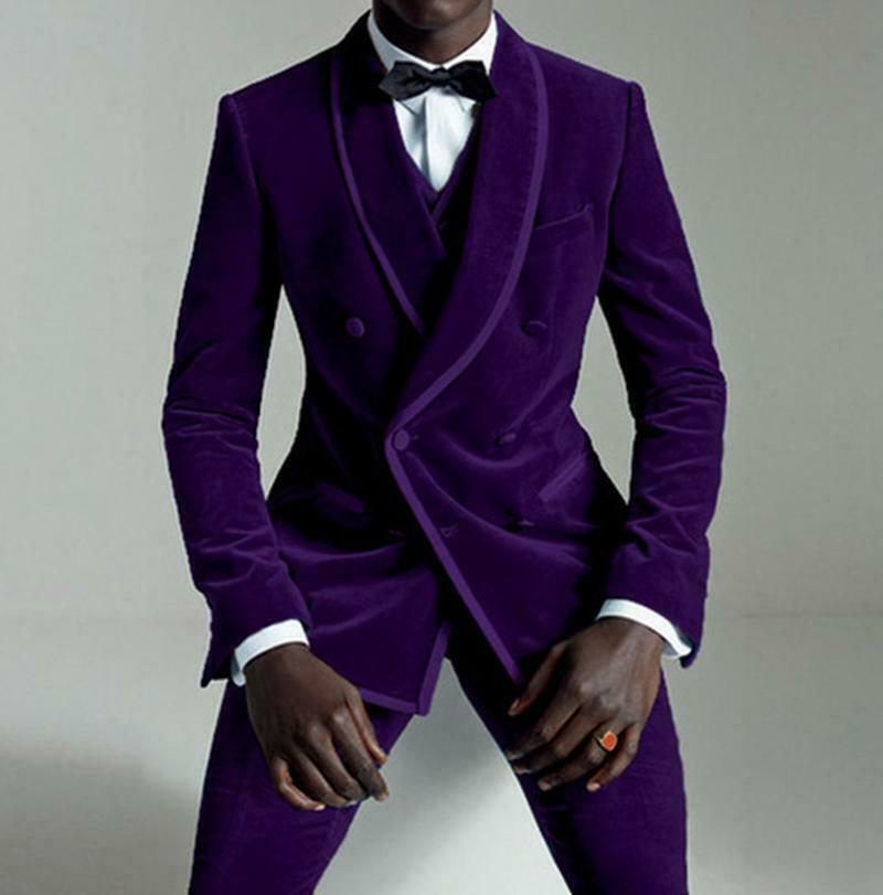 Dark Purple Modern Grooms Wedding Tuxedos Double Breasted Prom Party Men Suits