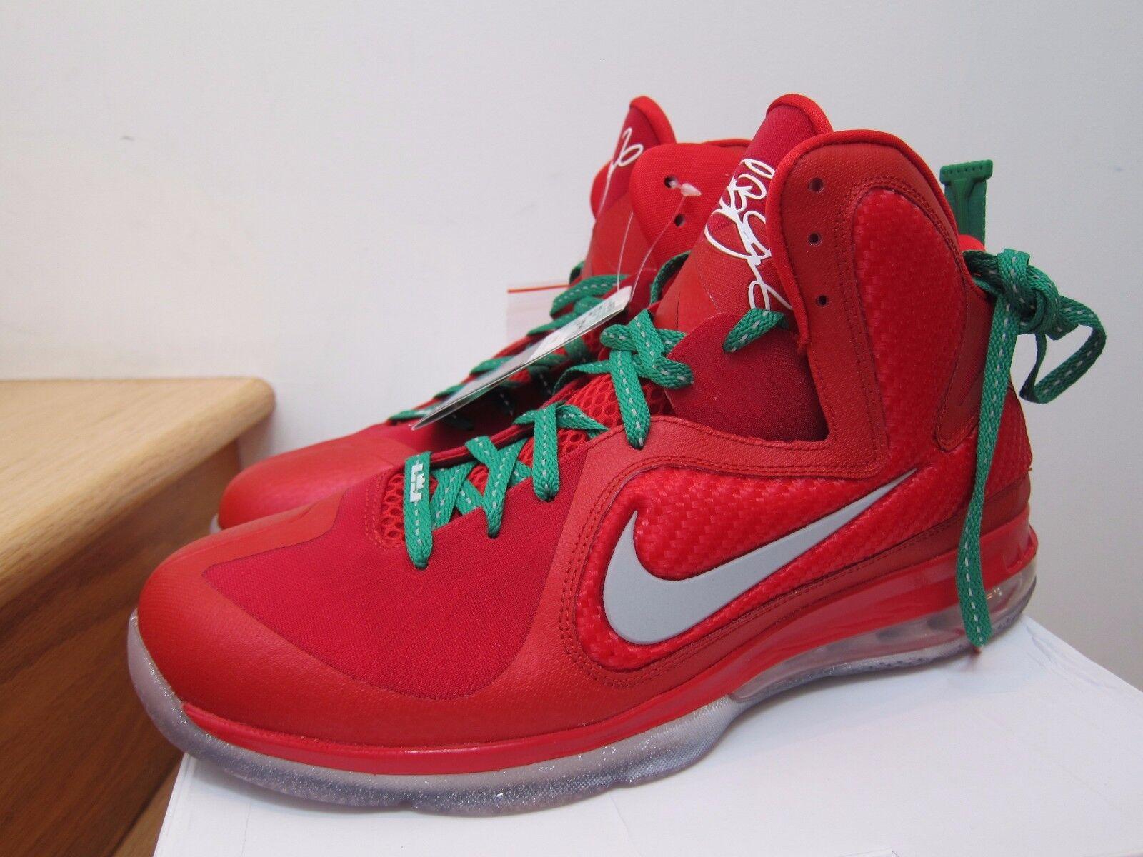 2012 la nike air lebron 9 x-mas natale rosso verde sz 13