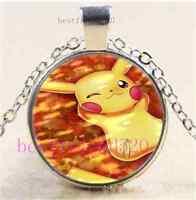 Pokemon Pikachu Photo Cabochon Glass Dome Silver Chain Pendant Necklace#E46