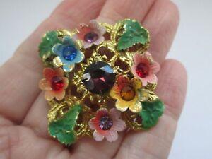Vintage-Enamel-Gold-Tone-Metal-Coloured-Rhinestone-Flower-Art-Deco-Brooch-Pin