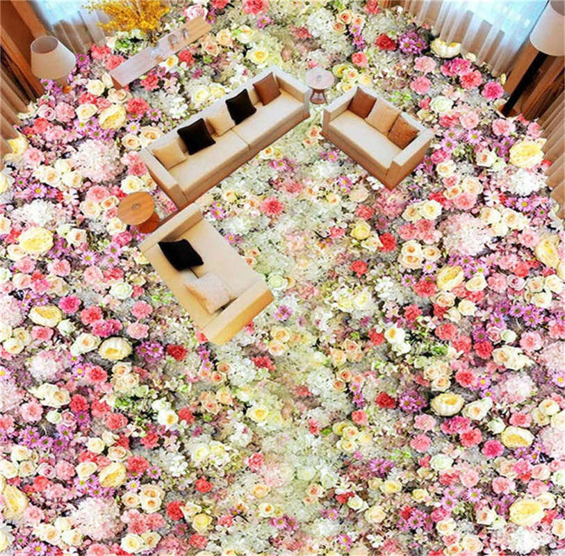 Lily Palace Hall 3D Floor Mural Photo Flooring Wallpaper Home Print Decoration