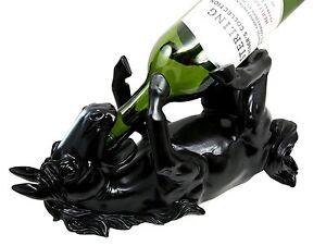Black-Stallion-Horse-Equine-Wine-Holder-Guzzler-Bar-Kitchen-Home-Decor-Figurine
