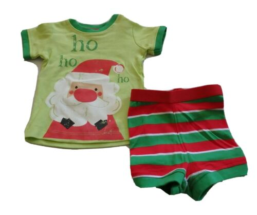 Baby Boys size 000 Green red white CHRISTMAS summer pjs Santa  0-3 mths NEW *EP*