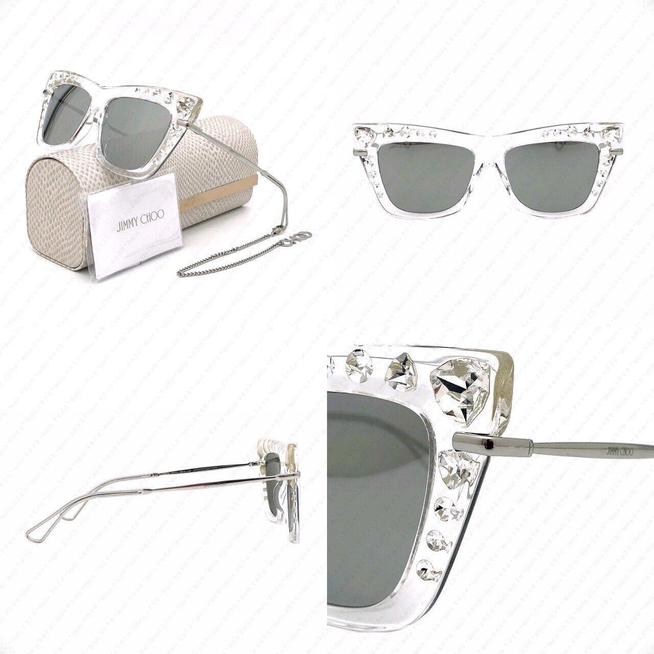 Authentic Jimmy Choo Bee/S HKTT4 55mm Crystal Silver w/ Silver Mirror Sunglasses