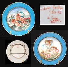 2 ASSIETTES DECOR AUX PUTTI DATEE 1874 SIGNEE MARIE GAILLARD PORCELAINE DE PARIS