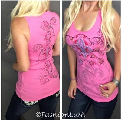 VOCAL Fleur De Lis Bling Pink Embellished Crystal Rhinestone Graphic Tank Top