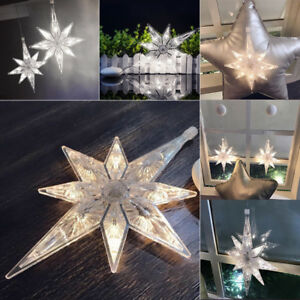 100% authentic 22c99 fb6b9 Details about Large Acrylic Star Snowflakes 8 LED Fairy Lights Hanging  Window Decor Mood Lamp
