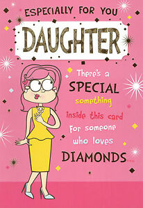 Funny Humorous Daughter Happy Birthday Card 3 X Cards To