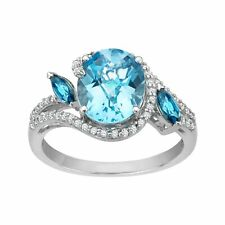 4 1/4 Ct Swiss Blue and White Topaz Ring in Sterling Silver
