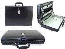 Executive Attache Case Faux Leather Expandable Hard Case Briefcase Office Bag Bk