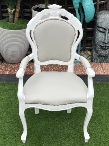 French Louis Rococo Ornate Light Grey Faux Leather Carver Vanity Statement Chair