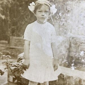 Antique Postcard Little Girl Standing in Garden RPPC Real Photo VELOX 1907-1909