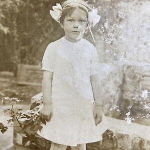 Antique Postcard Little Girl Standing in Garden RPPC Real Photo VELOX 1907-1909
