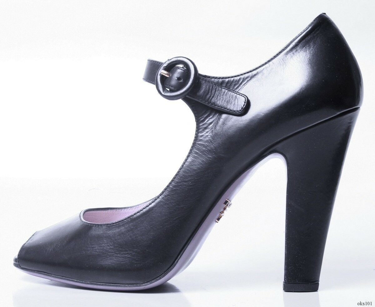 NIB  695 PRADA black open-toe MaryJane ankle strap heels shoes 40.5 US 10.5