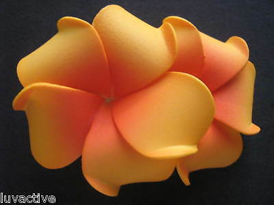 Hawaiian PLUMERIA Flower FOAM Hair CLIP Yellow Red Wedding Luau Prom Bridal NEW