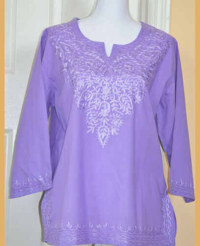 Embroidered Cotton Tunic Top Kurti Blouse in Purple Color from India XL