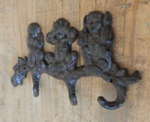 Cast iron 3 wall hooks Monkeys SEE HEAR SPEAK NO EVIL Rustic style Coat hook