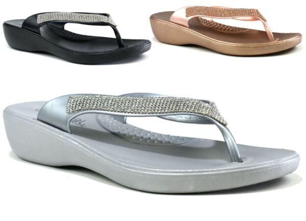 100% Verdadero Mujeres Damas Nuevo Diseño Flip Flop Toe Post Slip On Bajo Cuña Zapatillas Uk Size 4-8-ver ArtesaníA Exquisita;