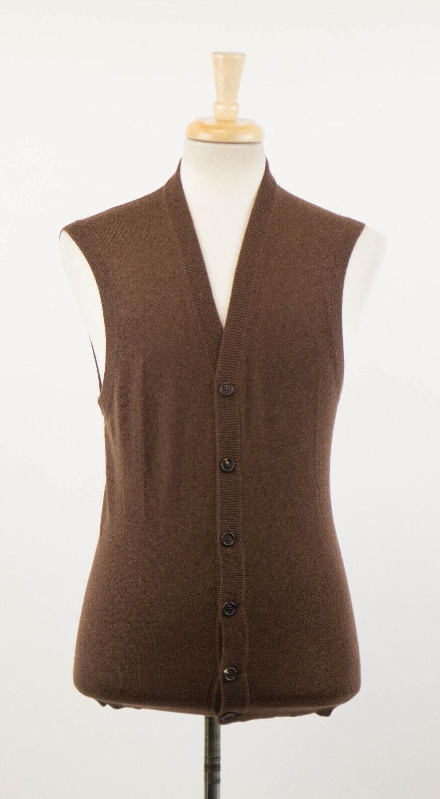 NWT BRUNELLO CUCINELLI Braun Cashmere Sleeveless Sweater Vest 54/44/XL 1220