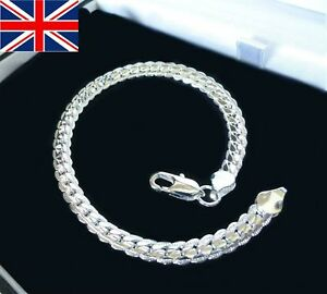 "Unisex 925 Silver Plated SS Cuban Curb Chain Bracelet  6mm width 8/"" length"