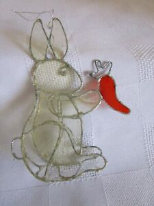 Cute Bunny Rabbit Hare With Carrot Easter Ornament Like Stained Glass  FREE SHIP