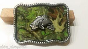 CAMO-FISH-FISHING-camouflage-BELT-BUCKLES-metal-western-fishing-bass-US-SELLER