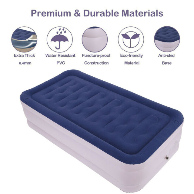 Twin Size Inflatable Mattress Air Bed Mat Pad Airbed Home Camping Travel w// Pump