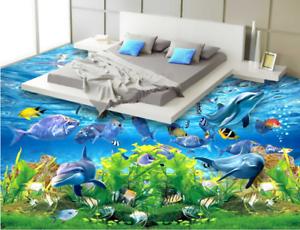 3D Kelp delfines Papel Pintado Mural Parojo Impresión de suelo 422 5D AJ Wallpaper Reino Unido Limón