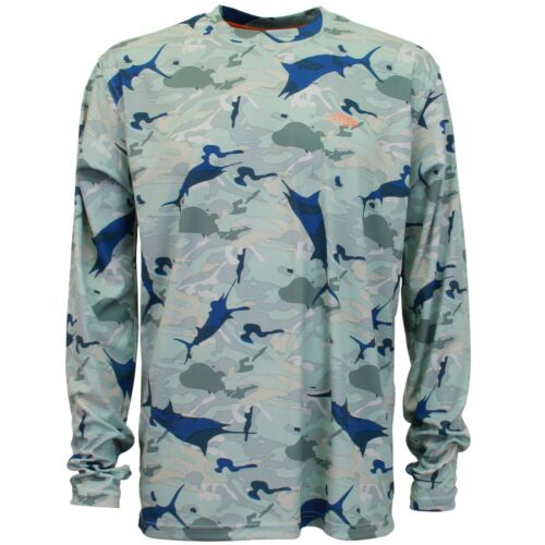 Pick Size AFTCO Caster Performance Fishing Sun Shirt CAMO PRINT S M L XL NWT