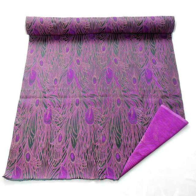 by the meter cbs-603 Brocade satin fabric violet purple peacock feather