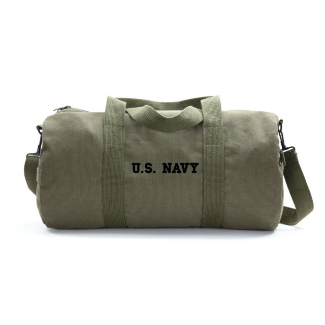 f53cc0f5be US Navy Text Army Sport Heavyweight Canvas Duffel Bag in Olive ...