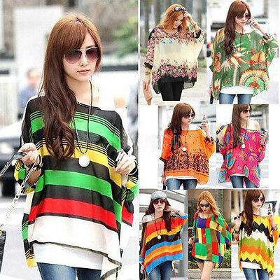 Bohemian Boho Hippie Damen Chiffon Schulterfrei Batwing Baggy Shirt Top 14 Farbe