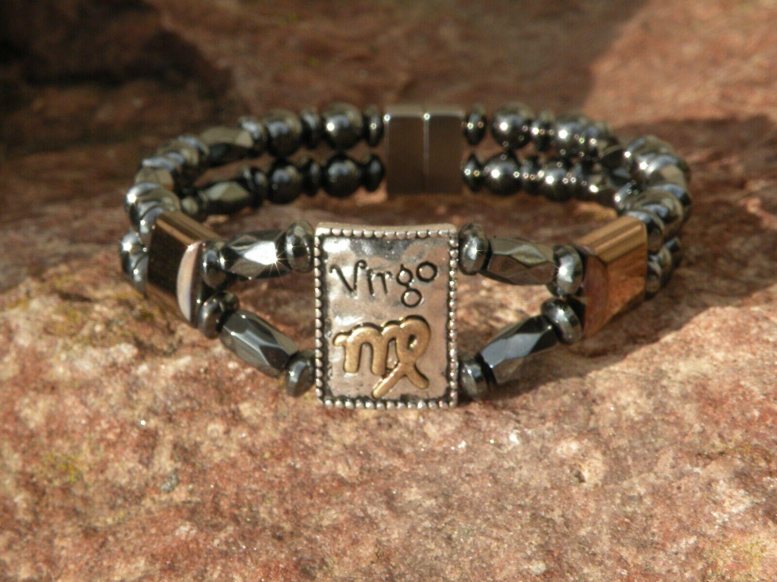 Men's Womens VIRGO Magnetic Hematite Bracelet Anklet 2 Row Zodiac Aug 23-Sept 22