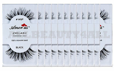 Amor Us 100% Human Hair False Eyelashes #WSP (12pairs) compare Red Cherry