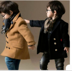 Child Kids Boys Wool Blend Double Breasted Trench Duffle Coat Jacket Outwear W03