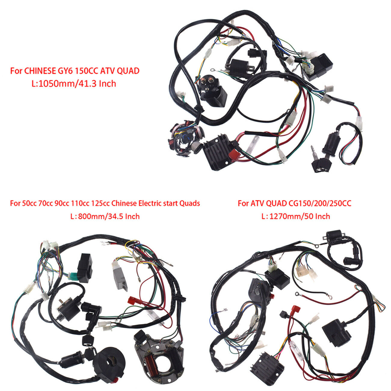 Wire Harness Assembly Wiring Kit For  GY6 150cc   50-125cc ATV  CG150-250cc QUAD  save 60% discount and fast shipping worldwide