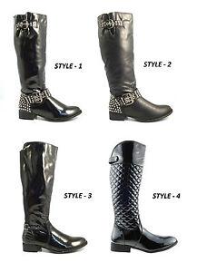 Para-Mujer-Damas-Nuevo-Knee-High-cremallera-Negro-Riding-bloque-de-tacon-Botas-Zapatos-Talla